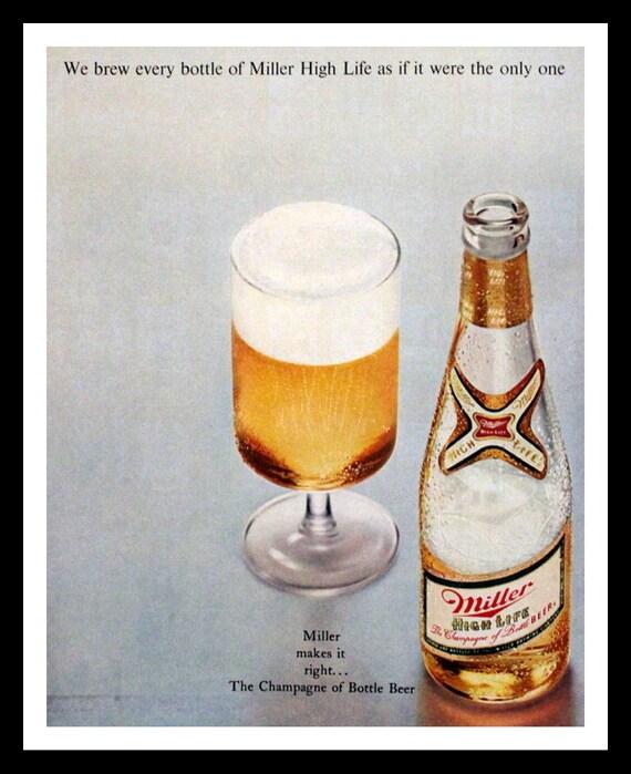1969 Miller High Life Beer Ad Wall Art Home Decor Bar