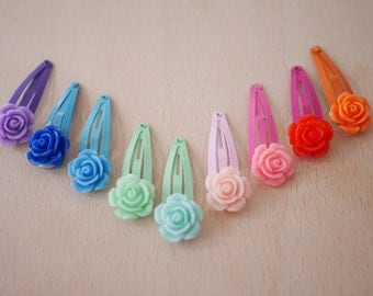 2x Rose flower hair clips