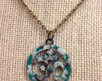 """20"""" Teal,White&Brown OM Pendant Necklace"""