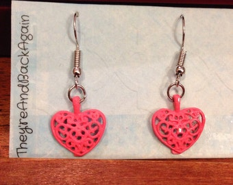 HotPink HandPainted Silver Antique-Heart Earrings