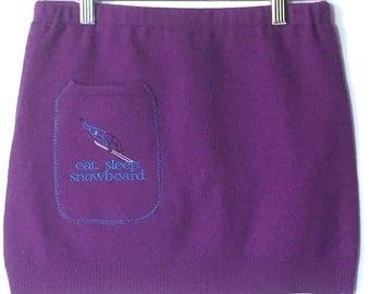 Wool skirt, bum warmer, mini skirt, upcyled snowboard bumwarmer made from a purple merino sweater