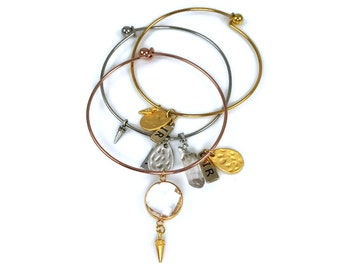 Metal Bangle and Charm Quartz Pendants Bracelet Set of 3
