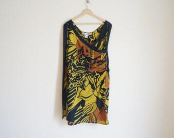Vintage 1980s Tropical Dress / Vintage Cotton Dress