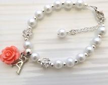 Childrens personalized bracelet, flower girl bracelet, flower girl gift, kids pearl bracelet, wedding jewelry