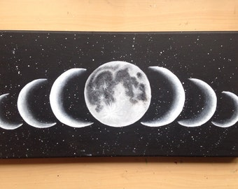 """The Moon Phases Painting """"Sette Lune"""" 8 x 16"""