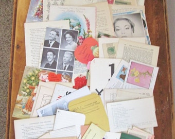 Vintage Paper Ephemera Pack 100 Piece Grab Bag Mixed Lot of Book Paper Assorted Pages & Pieces Scrapbooking Collage Altered Art Mixed Media