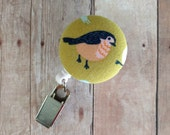 Retractable Badge Reel ID Holder - Bird Design, Bird Badge Clip, Coral and Navy Blue Bird Badge Reel, ID Holder, Quick Ship, Made in USA
