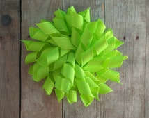 CLEARANCE- Korker Bow Hair Clip, Neon Lime Green Grosgrain Ribbon, Ready to Ship, Made in USA, Corkscrew Hair Bow, Curly Ribbon Clip