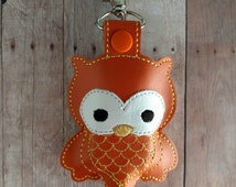 Owl Hand Sanitizer Holder- Orange Embroidered Vinyl with Snap, Great for Backpacks, Bags and Purses, Made in USA, Quick Ship, Assorted Color
