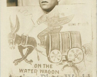 Man on fake water wagon fun comic antique arcade photo pc