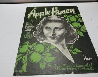 Apple honey, vintage music sheet