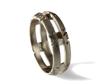 Unique Steampunk Men wedding band, 18k solid gold band, rustic men wedding band, steampunk ring, 14k gold band,mens wedding ring