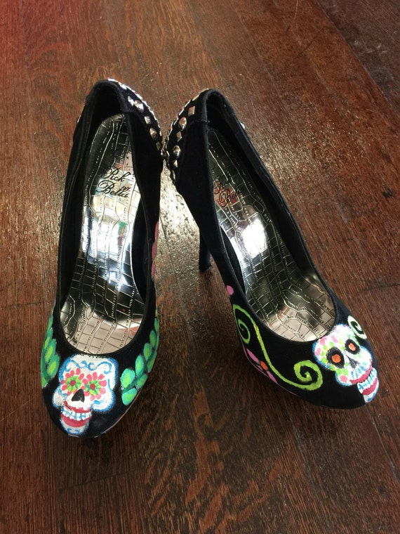 Hand Painted Sugar Skull Black Stiletto Heels W/ Silver ...