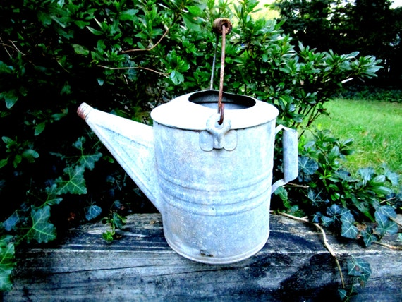 Vintage Large Galvanized Watering Can, Large Gardening Watering Can, Metal Watering Can, Farmhouse Garden Rustic Decor
