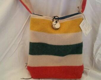 Hudson bay style Woolrich blanket tote, handbag, cross body purse.