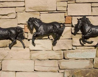 THREE Horses Wall Art  SCULPTURE  Equine Art Resins  Look at all three pictures
