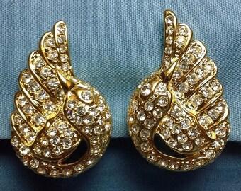 Joan Rivers Swan Earrings - Crystal Clip Ons - S1942
