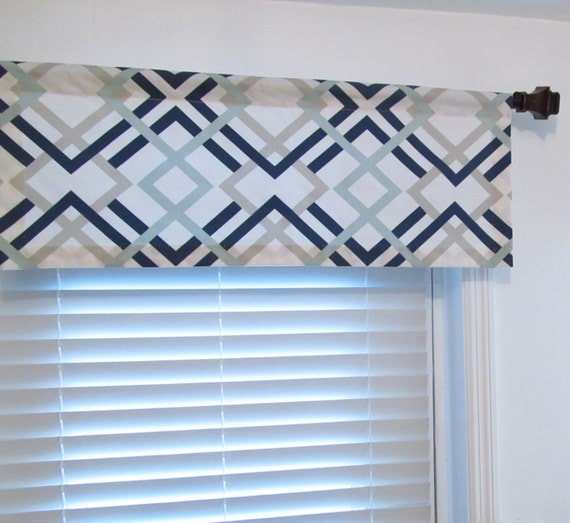 geometric valance navy light blue grey custom sizing. Black Bedroom Furniture Sets. Home Design Ideas