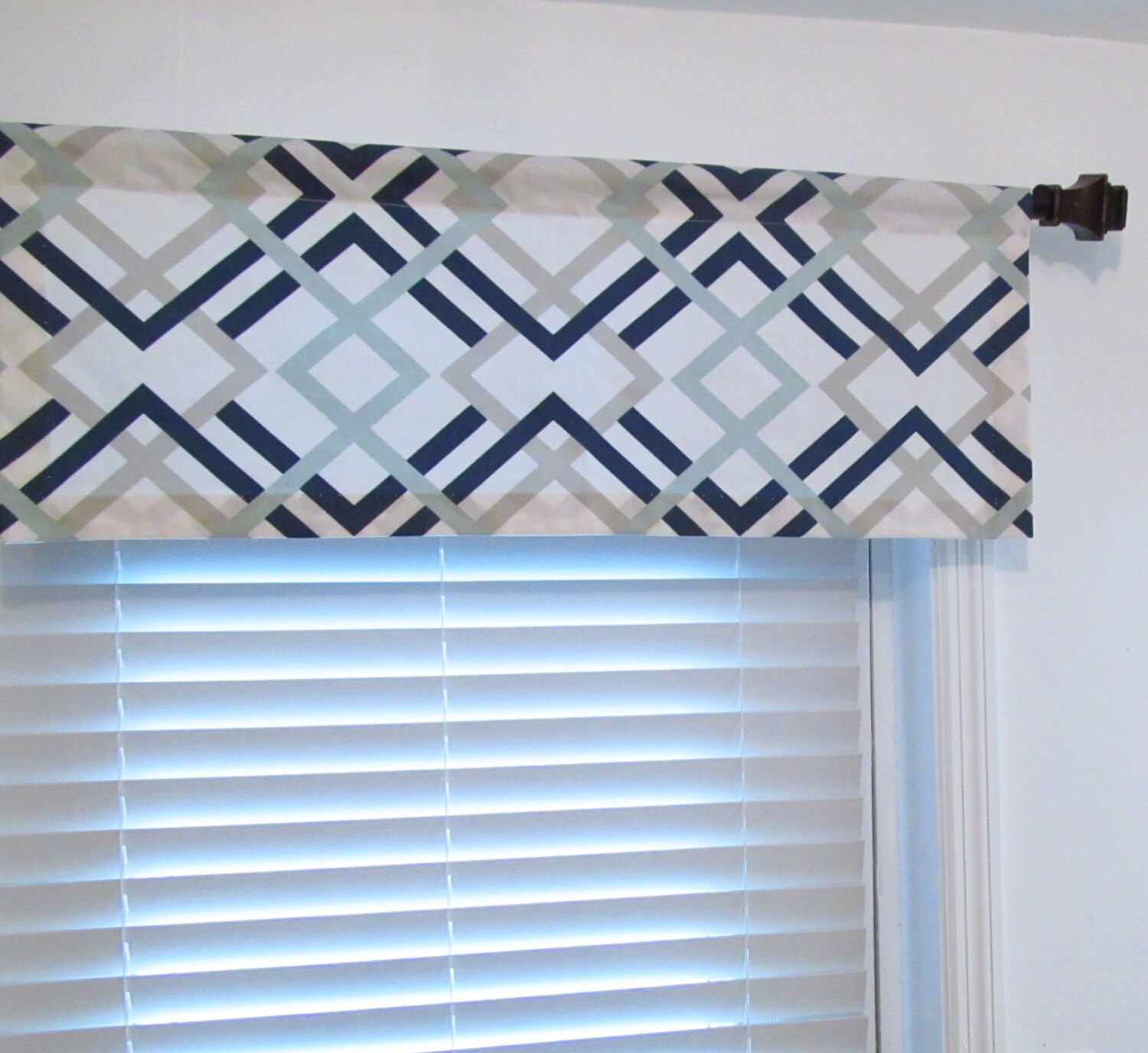 Geometric Valance Navy Light Blue Grey Custom Sizing