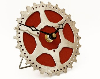 Bicycle Desk Clock - Recycled Bicycle Cog Clock - Bike Gear Clock - Unique Clock - Quirky clock - cyclist gift - boyfriend gift