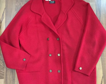 Vintage 1960s Macy's True Red Double Breasted 100% Wool Cardigan Size Large