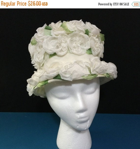 Floral Covered Easter Bonnet 1960s