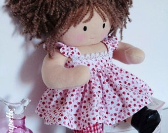 Lilou, 40 cm rag doll - baby - doll in cloth - Brown doll - rag doll - baby doll - cloth doll - fabric doll