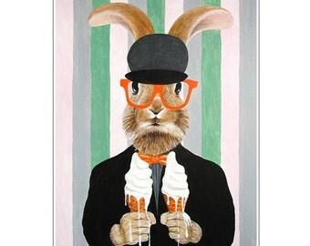 Rabbit Art Print, Rabbit Artwork, Rabbit Bunny Print, Rabbit Art, Bunny Print, Rabbit Wall Art, 8x10, Wall Decor, Rabbit with ice-creams