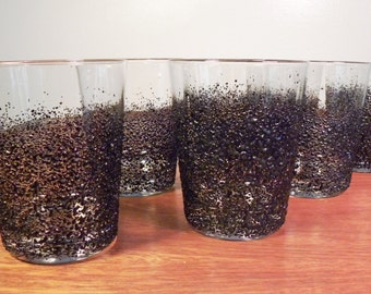 Vintage Mid Century Low Ball Glasses Barware Black Lava - Set of 7