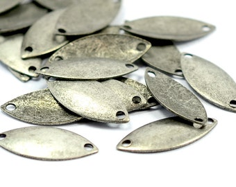 100 Pcs. Antique Silver 8x17 mm Oval 2 Hole Findings