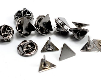 20 Pieces Triangle Gunmetal 10x10x10 mm Tie Tack Clutch Pin Findings