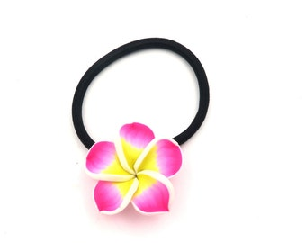 Hawaii flowers hair rubber pink flower