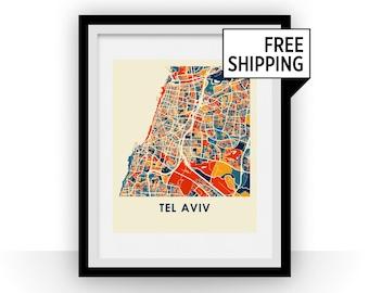 Tel Aviv Map Print - Full Color Map Poster