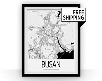 Busan Map Poster - south korea Map Print - Art Deco Series