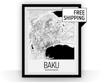 Baku Map Poster - azerbaijan Map Print - Art Deco Series