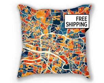 Glasgow Map Pillow - Scotland Map Pillow 18x18
