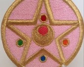 "Sailor Moon Inspired Metallic Gold Thread Transformation Compact Locket 3"" Patch Fully Wrapped Edges Sew/Iron On or Velcro Back Sailormoon"
