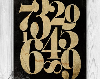 Vintage Number Art, Vintage Numerology, Numbers Art, Number Wall Art, Numeral Art, Home decor