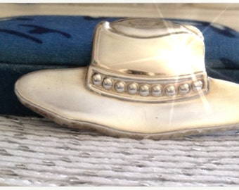 Vintage Sterling Silver COWBOY HAT, Southwestern Jewelry, Stetson, Large Pin Brooch  Free Shipping