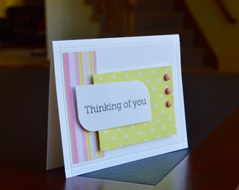 Stripes and polka dot thinking of you card