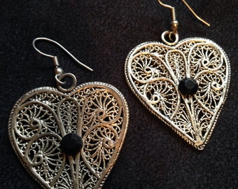 HEART LACE EARRINGS with Black beads and silver trim