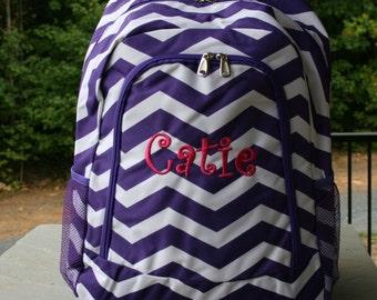 Girls Monogrammed Backpack Purple Chevron Girls Personalized Bookbag