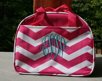Girls Monogrammed Lunch Bag Pink Chevron Personalized Insulated Lunch Tote