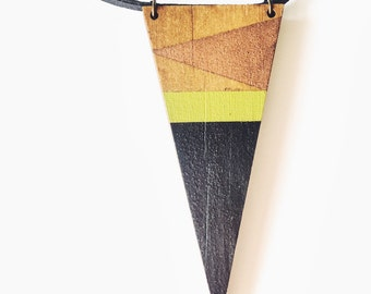 Hand Painted Timber Triangle on Leather