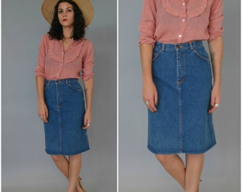 1970s GITANO high waisted denim midi skirt