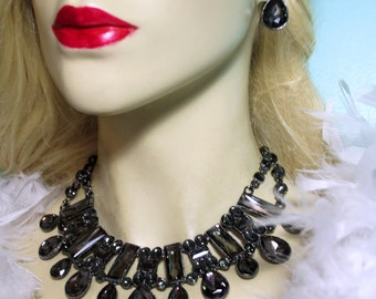 Rhinestone Crystal Statement Choker Necklace Earring Set Gray Pageant Drag Prom