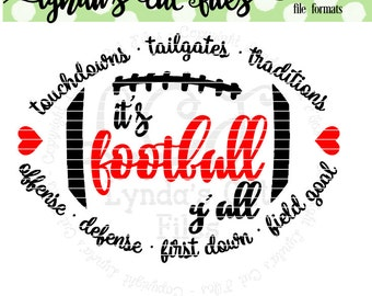 It's Football Y'all//Fall// SVG//EPS//DXF digital download cut file