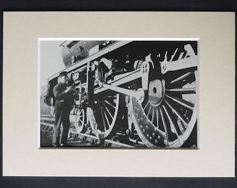 1950s Vintage Print of a LMS Princess Royal Class Locomotive, Available Framed, Train Art, Old British Rail Steam Engine Decor, Trainspotter