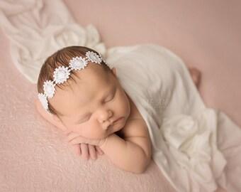 White Headband ,Photo Prop Newborn Girl Headband ;  Newborn Baby Girl  Headband