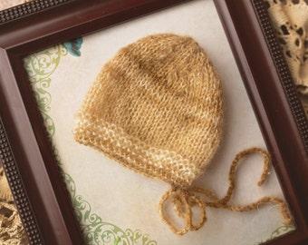 Beige Cream Newborn  Bonnet , Newborn Baby Boy Knit Bonnet , Photo Prop Baby Bonnet